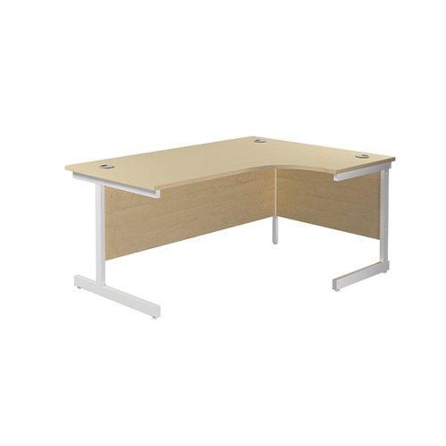 Jemini Right Hand Radial Desk 1600x1200mm Maple/White KF801942