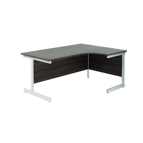 Jemini Right Hand Radial Desk 1600x1200mm Dark Walnut/White KF801958