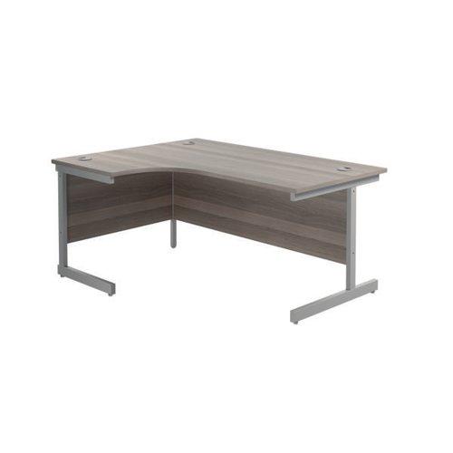 Jemini Left Hand Radial Desk 1800x1200mm Grey Oak/Silver KF801970