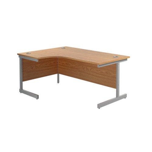 Jemini Left Hand Radial Desk 1800x1200mm Nova Oak/Silver KF801986
