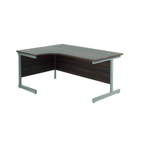 Jemini Left Hand Radial Desk 1800x1200mm Dark Walnut/Silver KF802010
