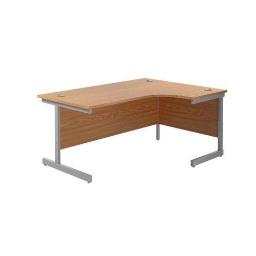 Jemini Right Hand Radial Desk 1800x1200mm Nova Oak/Silver KF802045