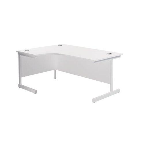 Jemini Left Hand Radial Desk 1800x1200mm White/White KF802116
