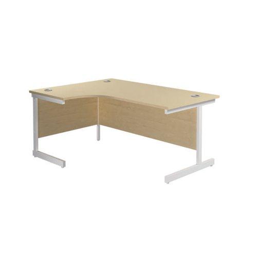 Jemini Radial Left Hand Cantilever Desk 1800x1200x730mm Maple/White KF802122