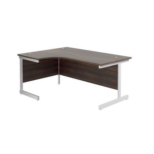 Jemini Radial Left Hand Cantilever Desk 1800x1200x730mm Dark Walnut/White KF802135