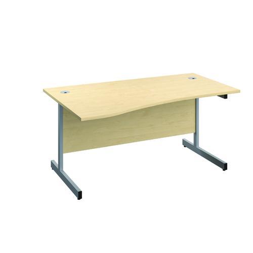Jemini Left Hand Wave Desk 1600x1000mm Maple/Silver KF802483 by VOW, KF802483