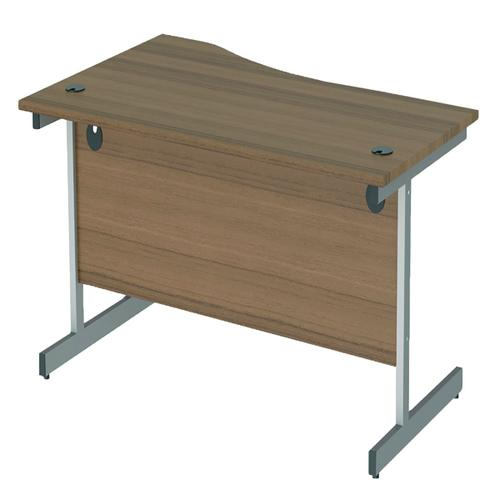 Jemini Right Hand Wave Desk 1600x1000mm Dark Walnut/Silver KF802551