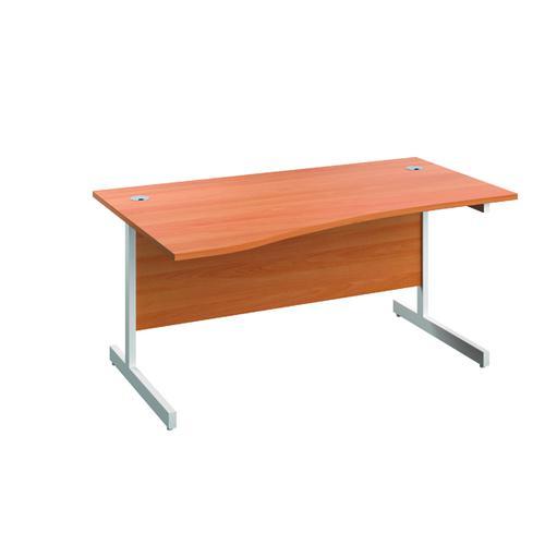 Jemini Left Hand Wave Desk 1600x1000mm Beech/White KF802567