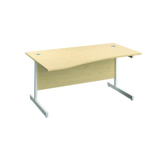 Jemini Left Hand Wave Desk 1600x1000mm Maple/White KF802600 by VOW, KF802600