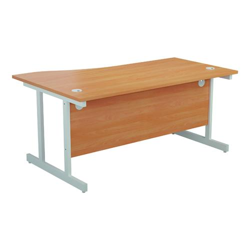 Jemini Right Hand Wave Desk 1600x1000mm Beech/White KF802622 by VOW, KF802622