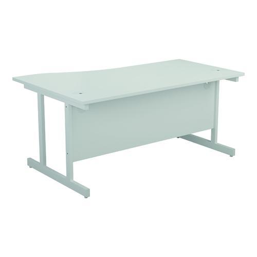 Jemini Right Hand Wave Desk 1600x1000mm White/White KF802656 by VOW, KF802656