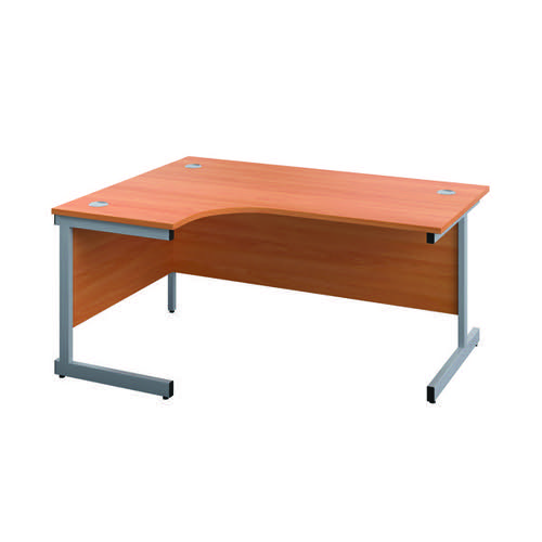 First Left Hand Radial Desk 1600x1200mm Beech/Silver KF803010
