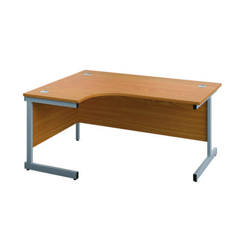 First Left Hand Radial Desk 1600x1200mm Nova Oak/Silver KF803027