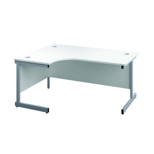 First Radial Left Hand Desk 1600x1200x730mm White/Silver KF803034
