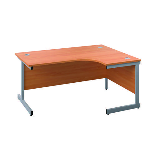 First Right Hand Radial Desk 1600x1200mm Beech/Silver KF803041