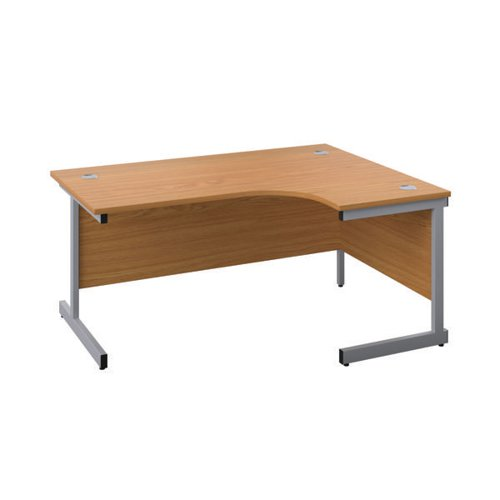 First Right Hand Radial Desk 1600x1200mm Nova Oak/Silver KF803058