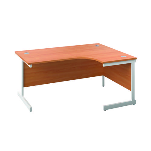 First Right Hand Radial Desk 1600x1200mm Beech/White KF803102