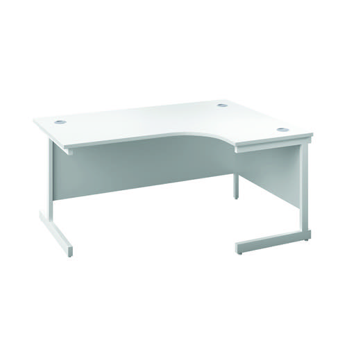 First Right Hand Radial Desk 1600x1200mm White/White KF803126