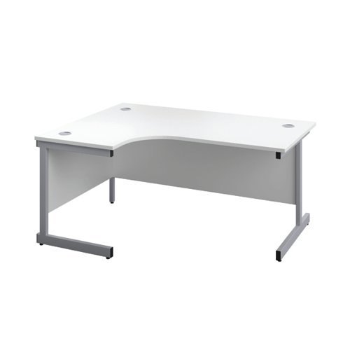 First Left Hand Radial Desk 1800x1200mm White/Silver KF803157