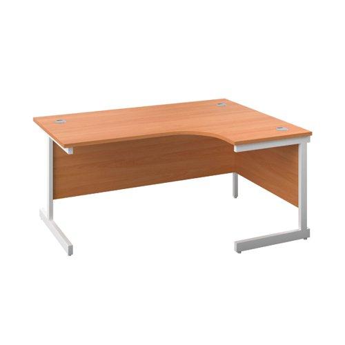 First Radial Right Hand Desk 1800x1200x730mm Beech/White KF803225
