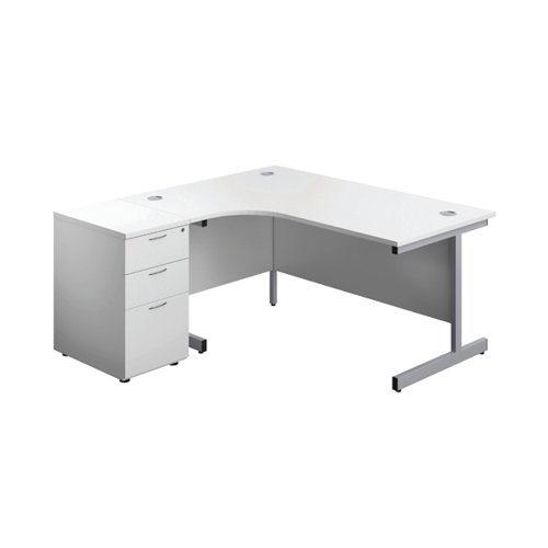 First Radial Left Hand Desk with Pedestal 1600 White/Silver KF803270