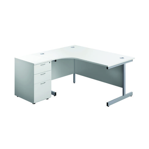 First Left Hand Radial Desk 1600mm White/Silver with Pedestal KF803270