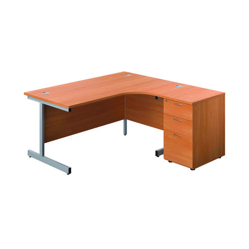 First Right Hand Radial Desk 1600 Beech/Silver with Pedestal KF803287