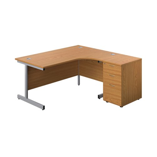 First Right Hand Radial Desk 1600 Nova Oak/Silver w/ Pedestal KF803294