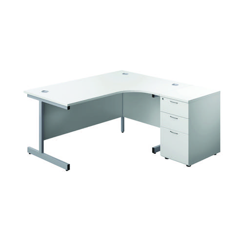 First Radial Right Hand Desk with Pedestal 1600x800-1200mm White/Silver KF803300