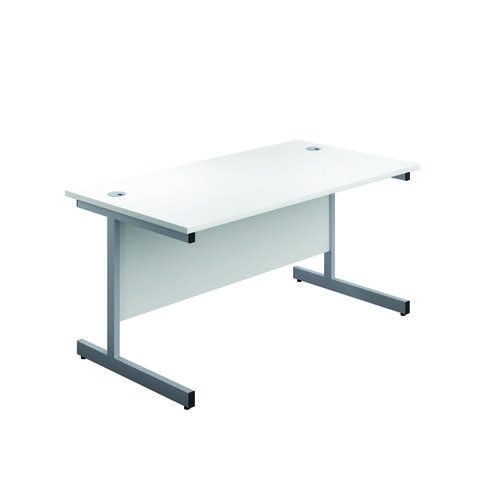 First Single Rectangular Desk 1200x800mm White/Silver KF803331