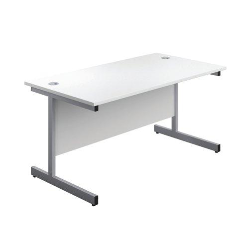 First Single Rectangular Desk 1400x800mm White/Silver KF803393