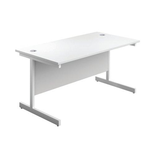 First Single Rectangular Desk 1400x800mm White/White KF803423