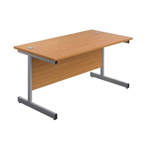 First Single Rectangular Desk 1600x800mm Nova Oak/Silver KF803447