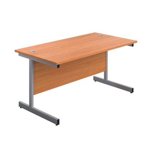 First Single Rectangular Desk 1800x800mm Beech/Silver KF803492