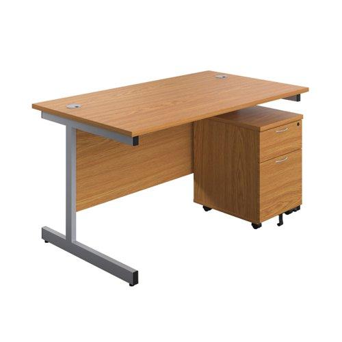 First Single Desk 1600x800 Nova Oak/Silver 2 Drawer Pedestal KF803560