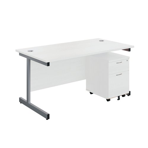 First Single Desk 1600x800mm White/Silver 2 Drawer Pedestal KF803577