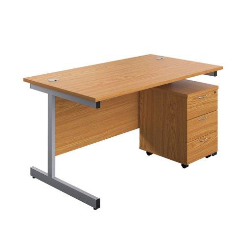 First Single Desk 1600x800 Nova Oak/Silver 3 Drawer Pedestal KF803591