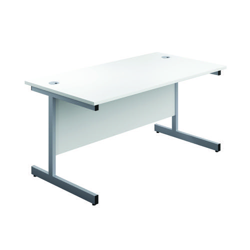 First Single Desk 1600x800mm White/Silver 3 Drawer Pedestal KF803607