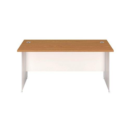 Jemini Rectangular Panel End Desk 1400x800x730mm Nova Oak/White KF804727