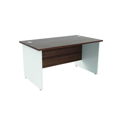 Jemini Rectangular Panel Desk 1400x800mm Dark Walnut/White KF804758