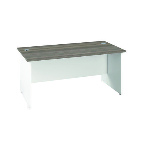 Jemini Rectangular Panel End Desk 1600x800mm Grey Oak/White KF804772