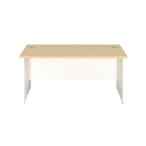 Jemini Rectangular Panel End Desk 1600x800x730mm Maple/White KF804802