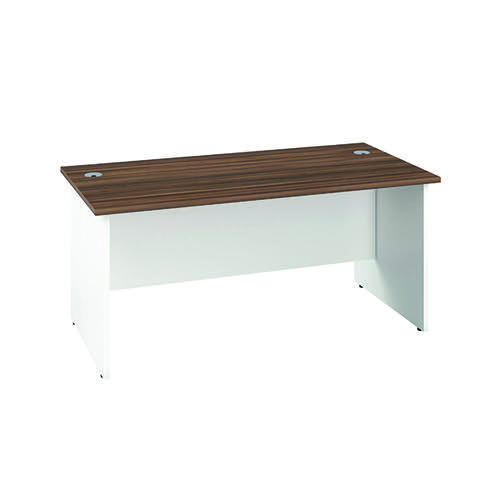 Jemini Rectangular Panel Desk 1600x800mm Dark Walnut/White KF804819