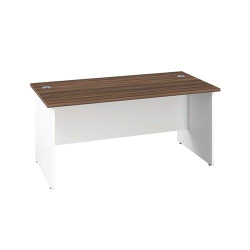 Jemini Rectangular Panel Desk 1600x800mm Dark Walnut/White KF804819