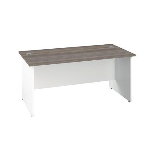 Jemini Rectangular Panel End Desk 1800x800x730mm Grey Oak/White KF804833