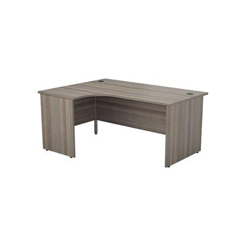 Jemini Left Hand Radial Panel End Desk 1600x1200mm Grey Oak KF805014