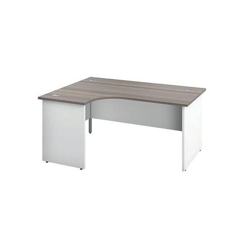 Jemini Switch Radial Left Hand Desk 1600x1200x730mm Grey Oak KF805373