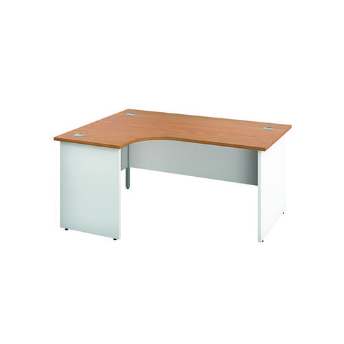 Jemini Left Hand Radial Panel End Desk 1600x1200mm Nova Oak/White KF805380