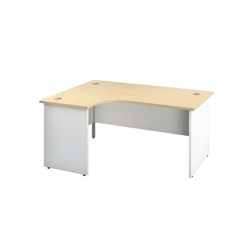 Jemini Left Hand Radial Panel End Desk 1600x1200mm Maple/White KF805403