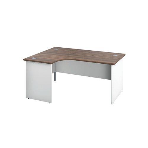 Jemini Switch Radial Left Hand Desk 1600x1200x730mm Dark Walnut/White KF805410